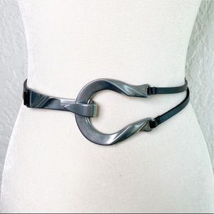 CHICO'S Twisted Horseshoe Black Leather Belt M/L